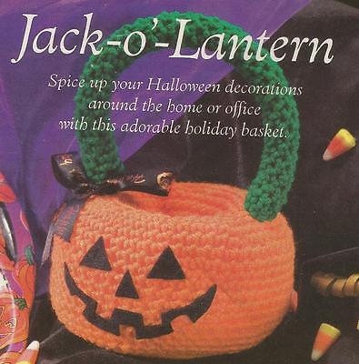 Crochet Pattern ~ Jack O Lantern Pumpkin Basket Halloween ~ - Crochet Halloween Basket