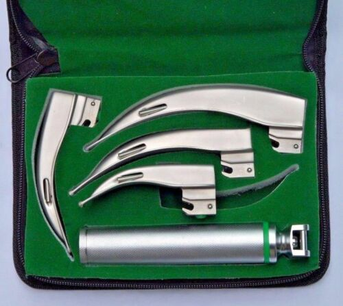 Fiber Optic Macintosh Laryngoscope Set with 4 Blades + Medium Handle