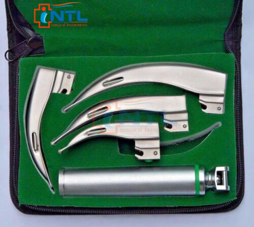 Fiber Optic Macintosh Laryngoscope Set with 4 Blades + Medium Handle
