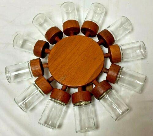 Vintage Digsmed Mid Century Modern Danish Spice Rack Teak Wood  Denmark 12 Jars