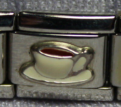 Coffee / Tea Cup Authentic Silver & Enamel Italian Charm by Roma