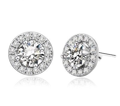 Sterling Silver Platinum Plated CZ Micro Pave Round Halo Bridal Stud Earrings E4