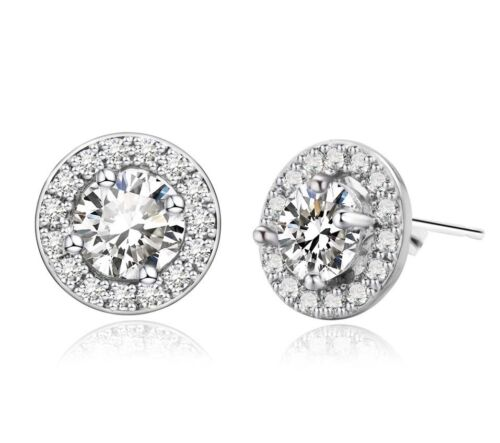 Sterling Silver Platinum Plated CZ Micro Pave Round Halo Bridal Stud Earrings E4 Earrings