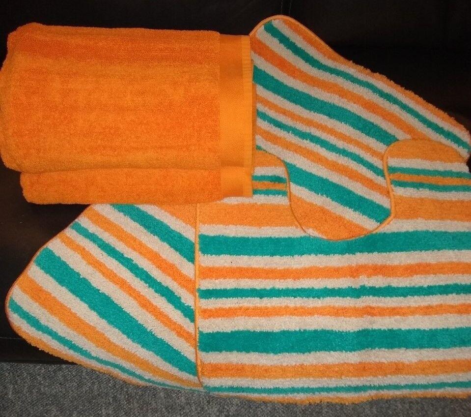 Orange Towels And Stripy Bath Mat Set George Home Design