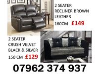 CLEARANCE 2 SEATER RECLINER AND CRUSHED VELVET SOFAS FAST DELIVERY