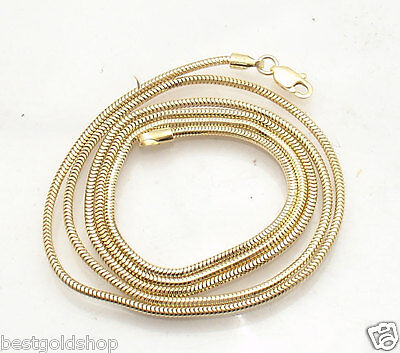 1.6mm Solid Round Snake Chain Necklace Real 14K Yellow Gold ALL LENGTHS (14k Gold Square Snake)