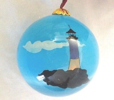 Hand Painted Lighthouse Glass Blue 3