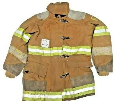 42x35 Globe Firefighter Brown Turnout Jacket Coat With Yellow Tape J866