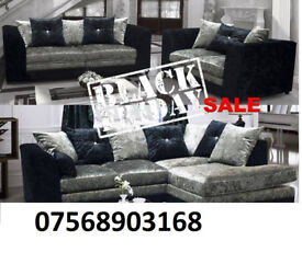 sofa boxing day sale CRUSH VELVET RANGE NOW IN 3+2 black and silver 1
