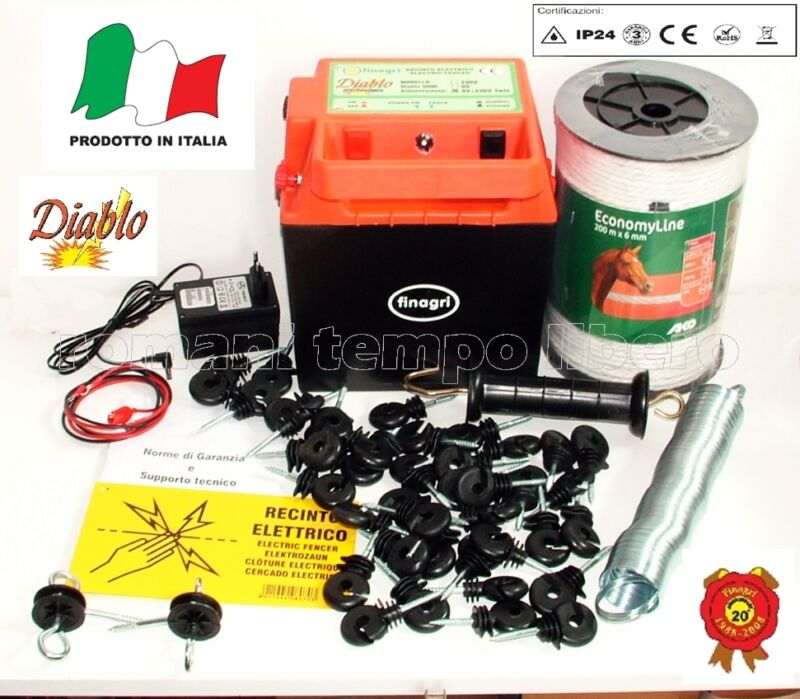 Fence Electric Power Battery Diablo 5000 with Rope Mens 0 1/4in Ed Accessories