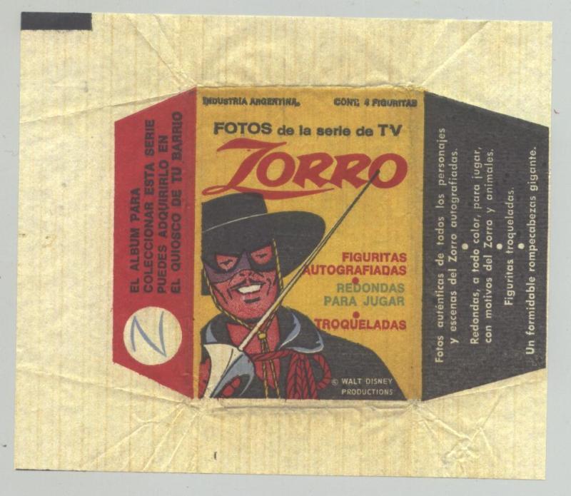 1958 ZORRO DISNEY WORLD TV SHOW WRAPPER LOST IN SPACE GUY WILLIAMS ARGENTINA a1