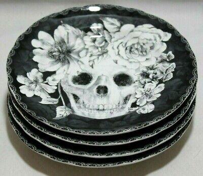 222 Fifth Marbella Skull Halloween Porcelain B&W Appetizer Plate Set of Four New