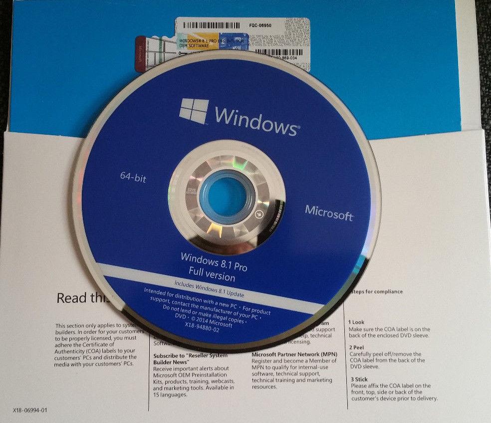Microsoft Windows 8.1 Pro 64-BIT Full English Version With DVD Sealed