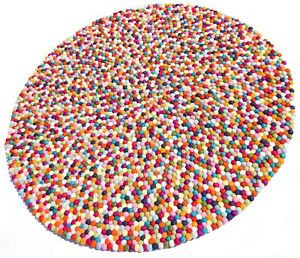 Felt Ball Multi Colour 140cm Floor Mat Round Rug Kids Room Baby's Nursery