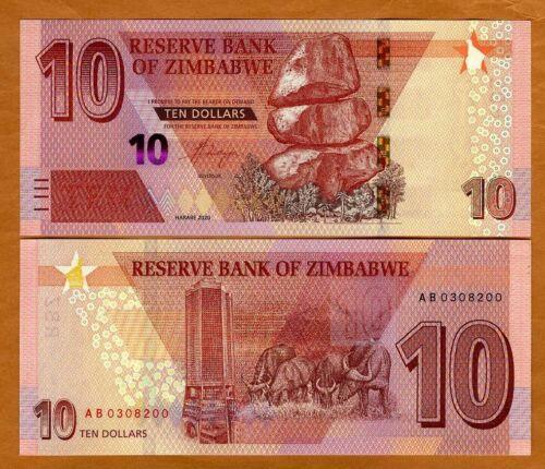 Zimbabwe, 10 dollars, 2020, P-New, Redesigned, UNC