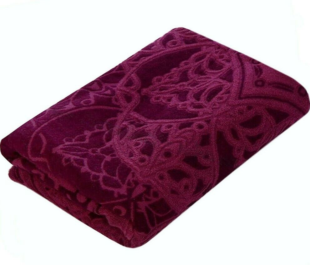 Purple Terry Sheet Cotton Blanket Throw Cotton Bedspread fro