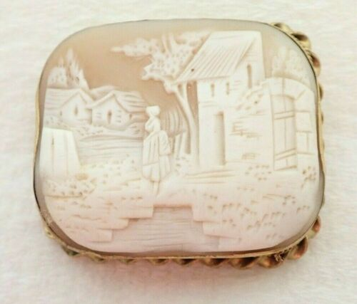 "Antique Victorian 10k Solid Gold Carved Scene Cameo Shell 2"" Brooch Pin 15.3gram"