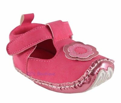 Girls LUVABLE FRIENDS baby shoes 0-6-12-18 NWT pink metallic non skid t strap