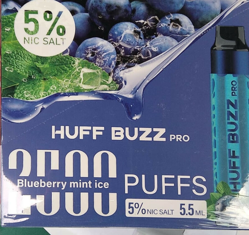 Huff Buzz Disposable XXL 2500 Puffs BLUEBERRY MINT ICE Salt-Nico 5%