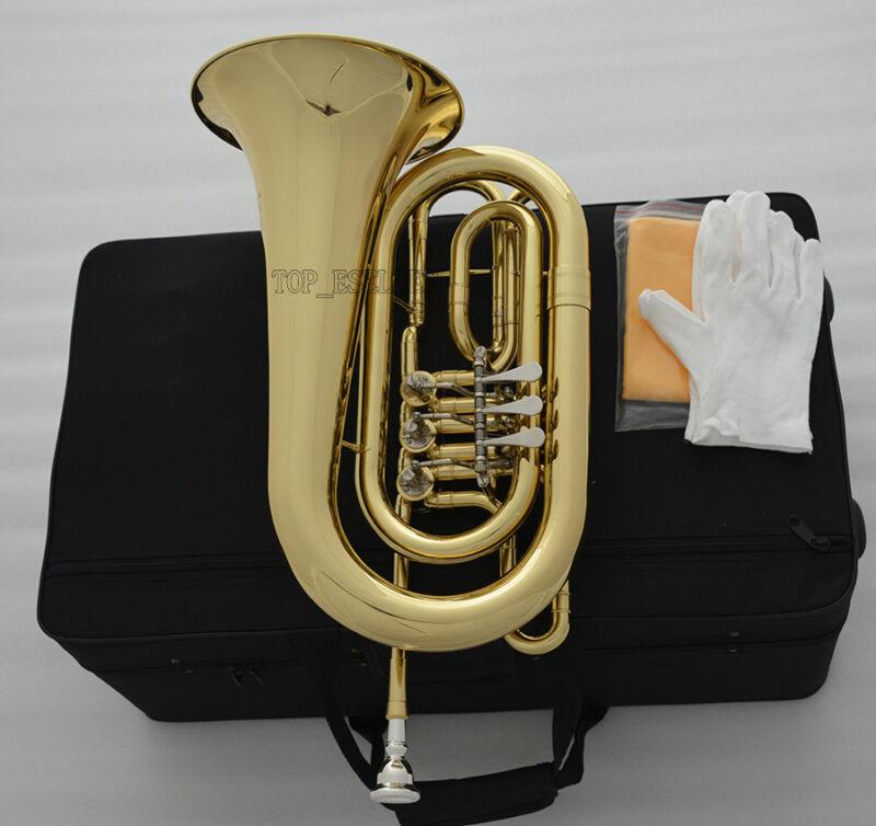 Professional Rotary Valve Bass Flugelhorn Gold Flugel C Key with case