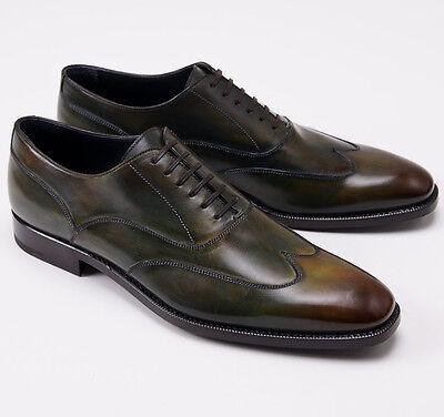 Nib  895 Ermenegildo Zegna Antiqued Green Wingtip Balmoral Us 9 D Dress Shoes