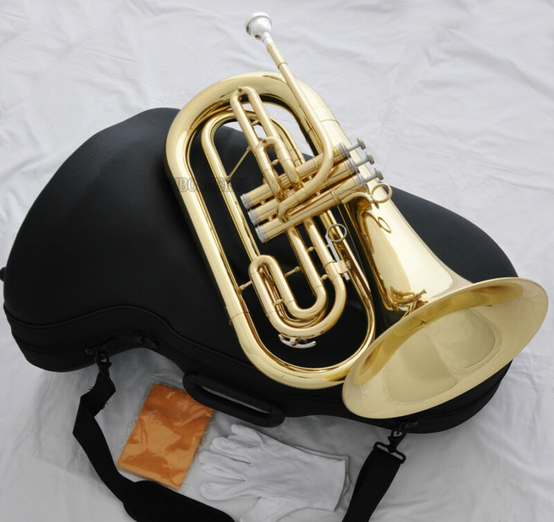 Professional Gold Marching Baritone B-Flat Horn Monel Valves With Case