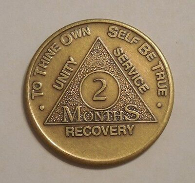 aa bronze alcoholics anonymous 2 month recovery sobriety coin token medallion for sale  Shipping to Canada