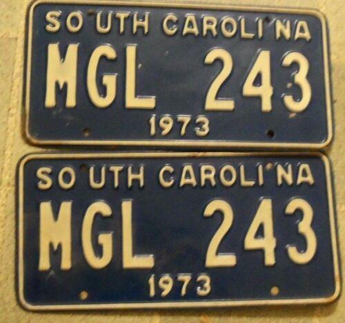 1973 PAIR SOUTH CAROLINA MGL 243~LICENSE PLATE <>TAG