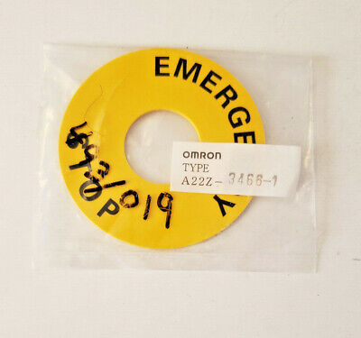 Omron Emergency Stop Switch 60mm Diameter Snap-in Legend Plate A22z-3466-1