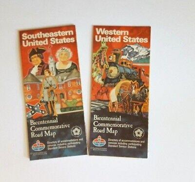 2 Vintage Bicentennial Commemorative Road Maps Standard Oil Southeastern/Western