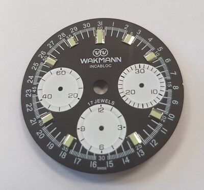 Wakmann watch dial for ETA Valjoux 72 swiss made movement - reverse panda dial v for sale  Shipping to United States