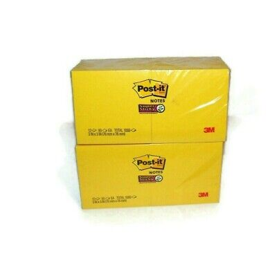 Lot Of 2 Post It Super Sticky Bright Yellow 12 3x3 Note Pad Pack