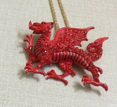 Betsy Johnson Red Crystal Dragon Pendant / Brooch Pin on Long Gold Necklace New!