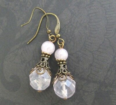 Rose Quartz Earrings Victorian Filigree Design Antiqued Brass Pink Stone -