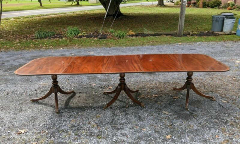 Antique Triple Pedistal Mahogany Dining Table