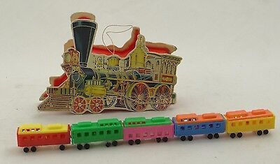B. SHACKMAN & CO. ~ 5 PIECE TRAIN SET IN CHRISTMAS TREE ORNAMENT BOX~1983 70418
