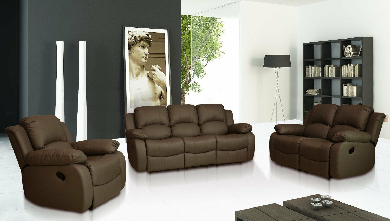sale new luxury valencia 3 2 1 seater leather recliner sofas black brown cream ebay. Black Bedroom Furniture Sets. Home Design Ideas