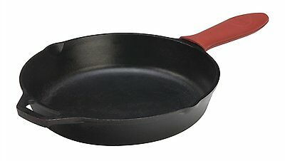 Lodge Pre-Seasoned Cast Iron Skillets with Red Silicone Hot