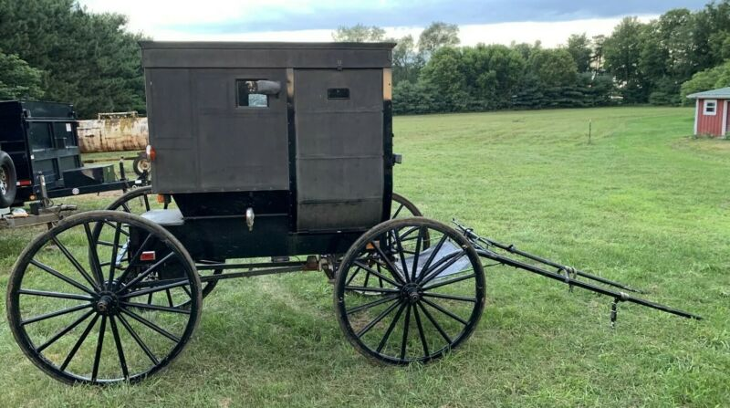 Authentic Amish Buggy Black Foot Brake Amish Horse Drawn Carriage Single Queen
