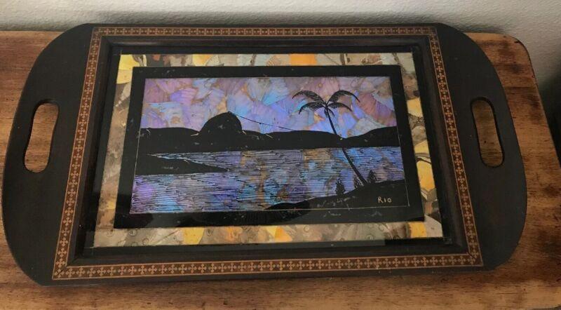 "Antique ""Butterfly Wing"" Reverse Painting Wood Tray Rio de Janeiro Beautiful Art"