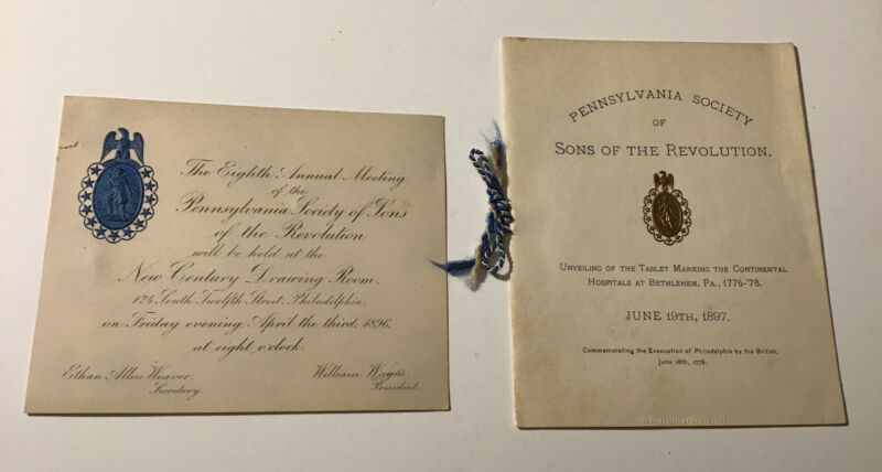 PENNSYLVANIA SOCIETY SONS OF THE REVOLUTION 1896 Invite/ Tablet Unveiling 1897