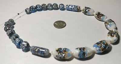 22 Rare Vintage Japanese Silver Foil Glass Beads
