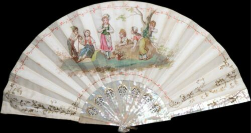 Antique French hand-painted mother of pearl fan from 1900