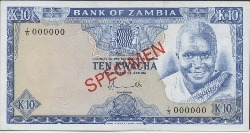 Zambia 10 Kwacha  ND. 1976  P 22s  Series 1/D  Specimen Uncirculated Banknote