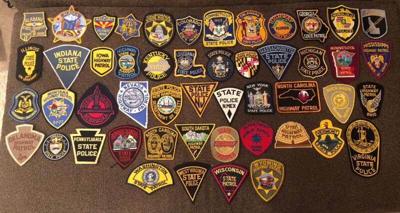 Vintage Police Shoulder Patch Lot - 50 States State Trooper & Highway Patrol