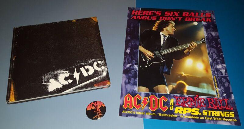 AC/DC BACKTRACKS HARDBOUND BOOK 160+ PGS , PROMO BALLBREAKER POSTER SHOW BUTTON