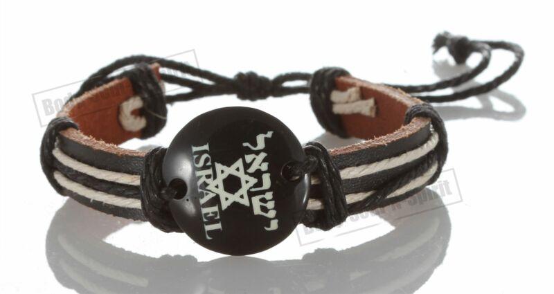 1 Star of David Israel Jewish Men W/  Brown Leather Bracelet Wrist Luck Success
