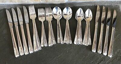 8 Long Handle Grille Viande Style Dinner Forks Oneida Community MILADY Vintage 1940 Art Deco Floral Silverplate Silver Plate Flatware Fair