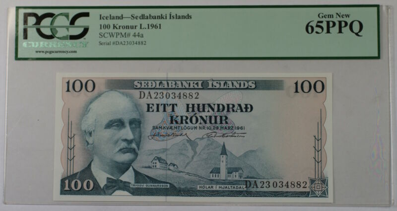L.1961 Iceland Sedlabanki Islands 100 Kronur Note SCWPM# 44a PCGS 65 PPQ Gem New