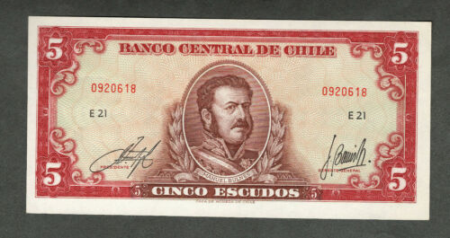 CHILE ND (1964) FIVE ESCUDOS NOTE UNCIRCULATED P138